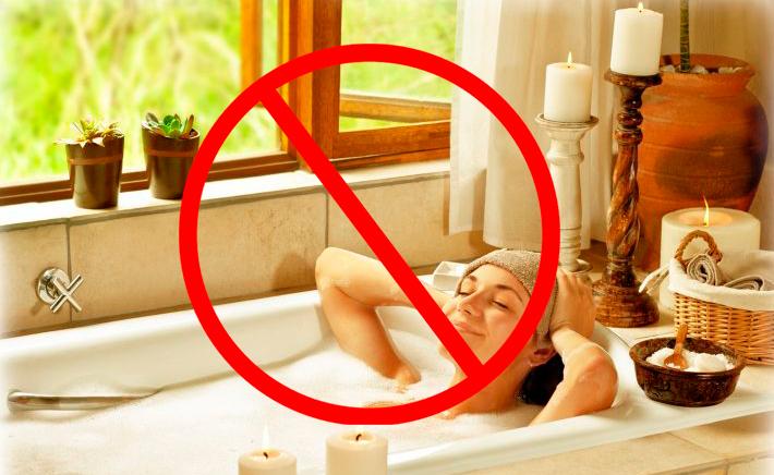 Категорически запрещается при Элос процедуре принимать горячие ванны