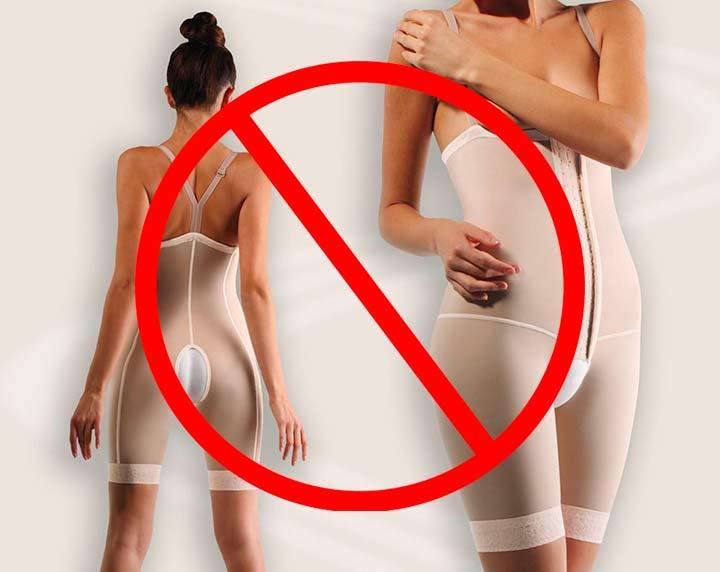 Запрещена носка компрессионного белья в течение 2-х недель после ввода Акваликса