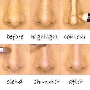 Корректировка носа макияжем