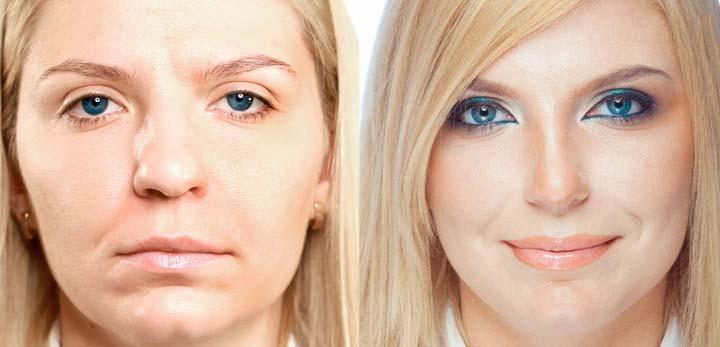 Уменьшение формы носа при помощи изменения формы и цвета бровей