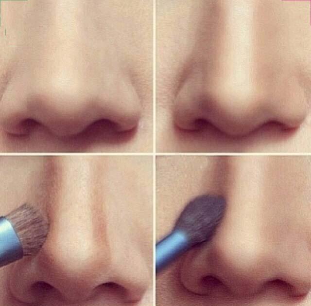 Уменьшение носа при помощи косметики