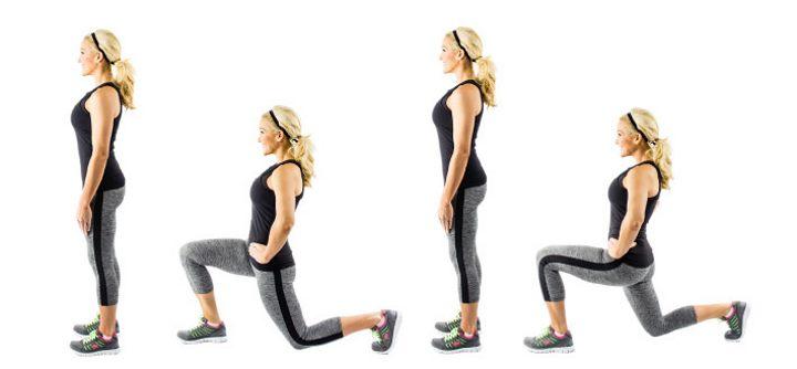 4 шага упражнения выпадов