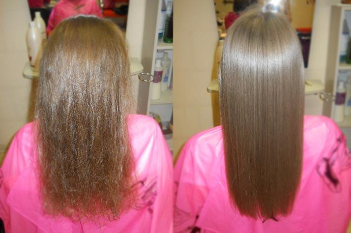 Волосы с ботоксом и после