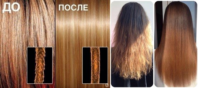 Волосы до и после влияния ботокса