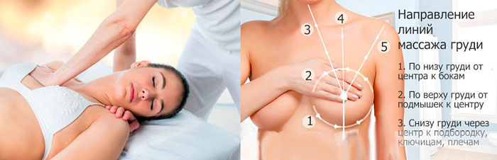 Направление линий для массажа груди