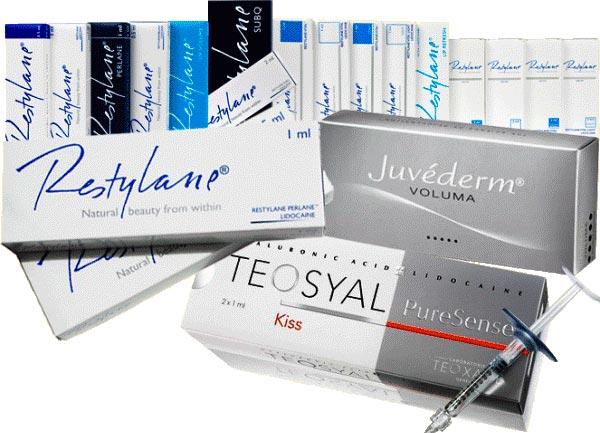 Основные препараты, используемые для контурной пластики