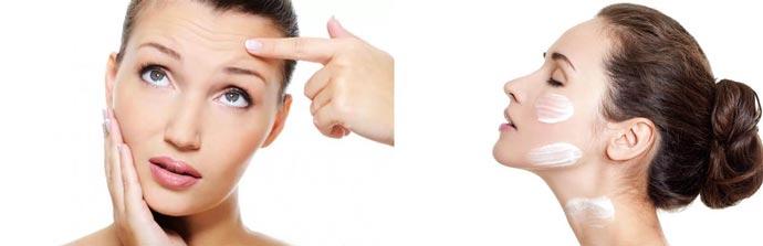 Наносить крем на лицо и шею от морщин