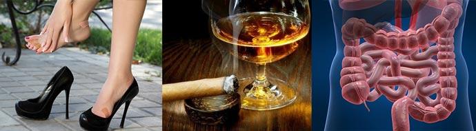 Тесные туфли, курение и алкоголь, запоры кишечника