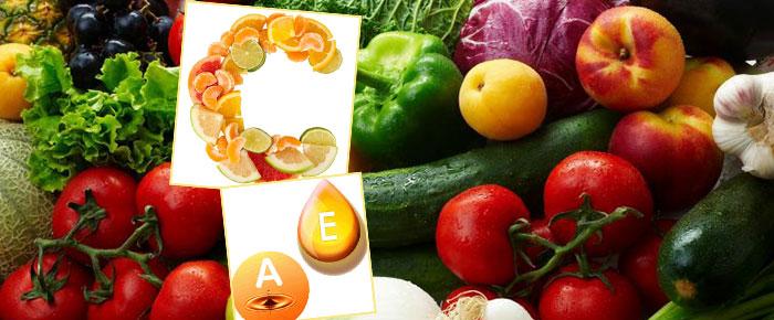 Свежие овищи и фрукты и витамины А, С, Е