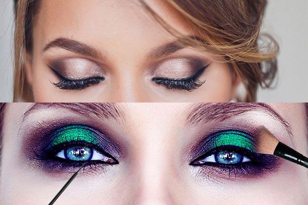 Яркий корректирующий макияж глаз