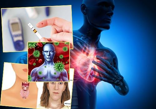 Сердечные заболевания, зараженяи крови, воспаление щитовидки, сахарный диабет