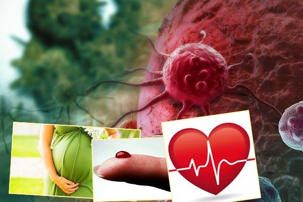 Онкология, беерменность и лактация, заболевания крови, болезни сердца