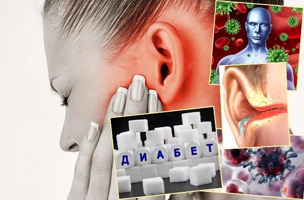 Болезни уха, инфекционный и онкологиечские болезни и сахарный диабет
