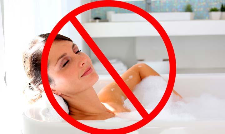 Запрещен прийом горячей ванны после липосакции подбородка