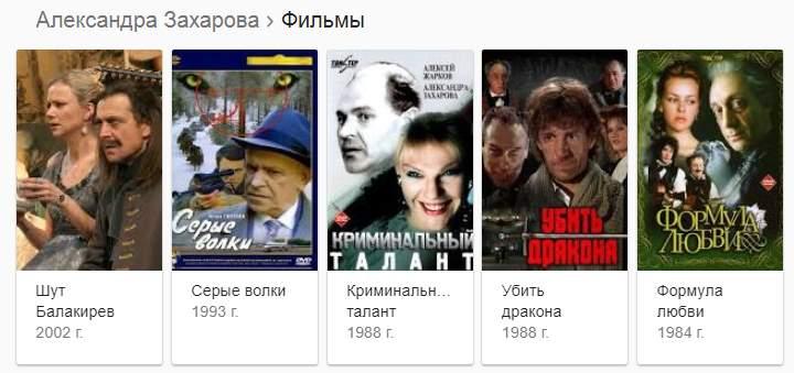 Фильмография Захаровой